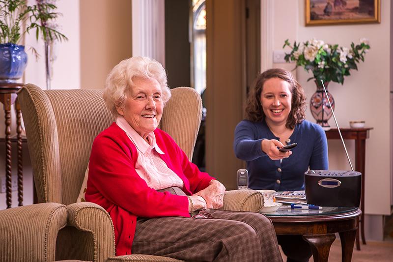 client carer smiling together